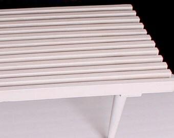 Mid century white slat bench