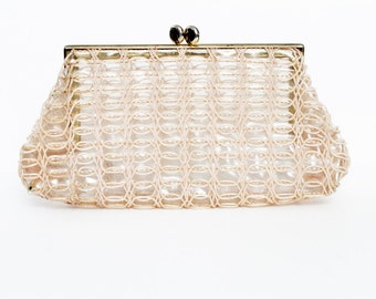 1950s clear plastic light pink purse clutch