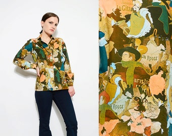 Vintage 70s Art Nouveau Blouse Impressionist Novelty Print Shirt Long Sleeve Button Up Blouse Moulin Rouge Theater Small Medium S M