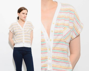 Vintage 70s White Candy Striped Terry Cloth Shirt Slouchy V Neck Retro Disco Button Up Top Small Medium S M