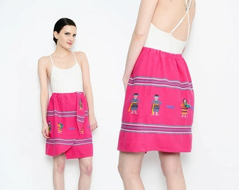 70s Pink Embroidered Skirt Native Tribal People Skirt Guatemalan Boho Hippie High Waist Cotton Blanket Mini Skirt Small Medium