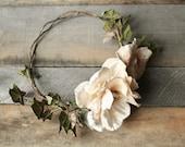 Floral bridal wreath, velvet floral crown, woodland hair crown, wedding headpieces, boho chic crown, floral circlet, ivory flower crown