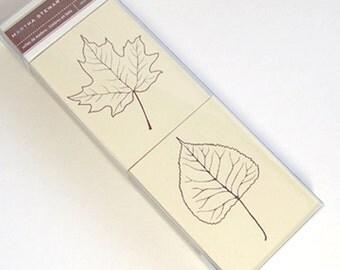 Martha Stewart Wood Stamp Set, 2 Leafs, One Oak and One Aspen Leaf, Nature Stamps