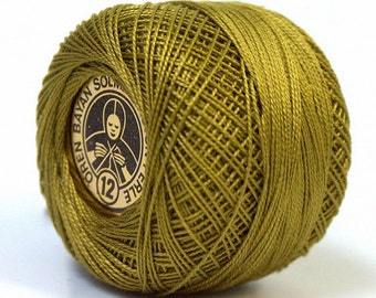 Oren Bayan Cotton Perle 12 #53 28779 Olive Green 100% Mercerized Cotton Embroidery Needlepoint Crochet Tatting Cross Stitch Thread 5gr 65y