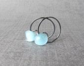 Powder Blue Hoop Earrings, Small Dark Wire Hoops Blue, Small Blue Earrings, Blue Earrings Lampwork Glass, Oxidized Sterling Silver Earrings