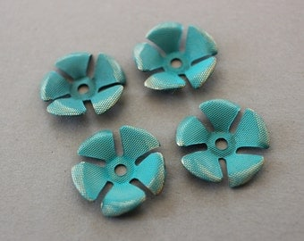 Vintage Flower Findings Verdigris Patina Textured Flowers 18mm