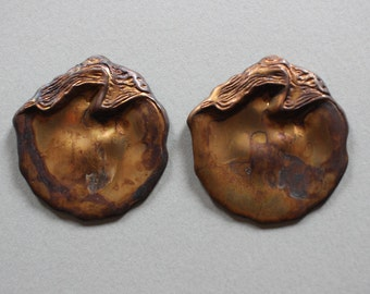 Oxidized Brass Oyster Shell Findings