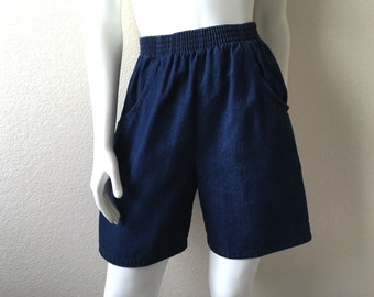 Vintage Women's 80's Jean Shorts, High Waisted, Dark Wash, Denim by Cascade Blues (M)