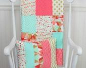 Baby Girl Blanket, Minky Blanket, Coral Crib Bedding, Nursery Decor, Coral Pink, Blush Pink, Mint Green, Gold, Aztec Nursery, Tribal Nursery