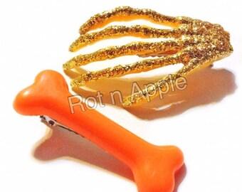 Glitter Skeleton Hand and Bone hair Clip set - Hair Clips- Psychobilly Clips - bone clips -skeleton clips - glitter hair clip - goth -punk