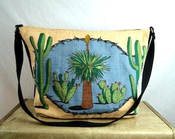 Vintage Cactus Canvas Tote Duffel Bag