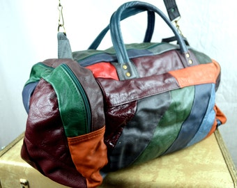 Vintage 80s Rainbow Patchwork Leather Duffel Bag Luggage