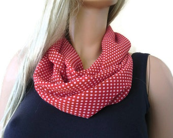 red and white polka dot infinity scarf -Red white cowl -Necklace scarf -Tube version