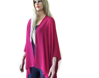 Solid fuchsia Boho Kimono/ Kimono cardigan-Solid fuchsia Lagenlook chiffon kimono- Great for weddings and bridesmaids