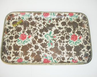 Vintage Tray Floral Chintz  Paper Macke Japan Red Roses Gold Flowers Small Shabby Cottage