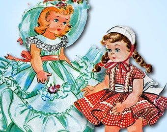 1950s Vintage McCalls Sewing Pattern 2084 11 to 13 Inch Little Girl Doll Clothes