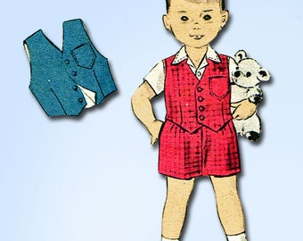 1950s Vintage Advance Sewing Pattern 7868 Baby Boys Shirt and Shorts Size 1 20B