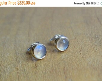 SALE 5mm Blue Moonstone Cabochon Studs in 14 K White Gold