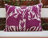 Royal Purple Folk Art Pillow Sham-Otomi Embroidery Ready to ship.