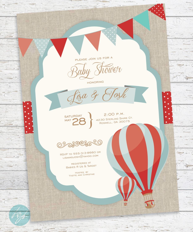 hot air balloon invitation baby shower birthday by flairandpaper
