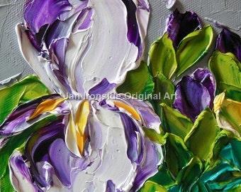 Sale Original Oil Painting Purple Floral Impasto Palette Knife Art Oil