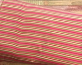 DESTASH SALE *** Pink Stripe Polyester PUL Fabric By The Yard.
