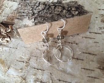 Silver and grey scribble earrings