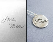 Actual Handwriting Signature Fine Silver Thick Pendant Necklace, Real Handwriting Silver Writing Necklace, Remembrance Jewelry, Memorial