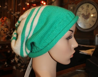 Alpaca Slouch Cap - Beautiful in Green and Ivory