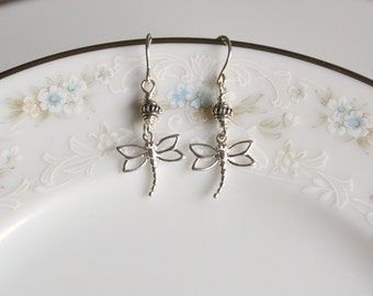 Dragonfly and bali bead sterling silver dangle earrings, dragonfly jewelry