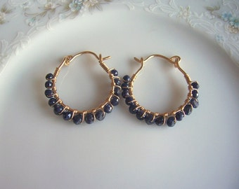 Blue sapphire and gold wire wrapped hoop earrings, sapphire earrings, sapphire jewelry