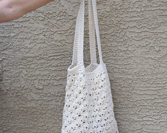 Crochet tote cotton off white natural beach farmers market boho bohemian