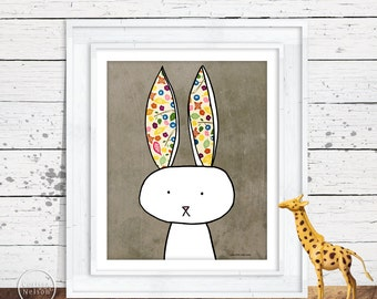 Bunny Illustration Children's Art Printable - Instant Download 8x10