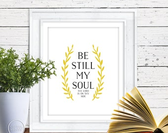 Be Still - Gold Christian Art - 8x10 Wall Art Instant Printable