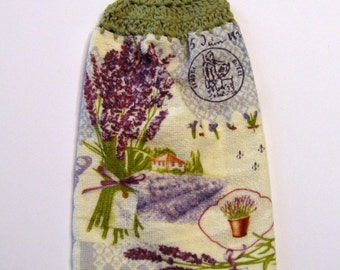 Lavender  Flowers Hanging Towel, Kitchen supplies, Hostess Gift, Handmade by NormasTreasures