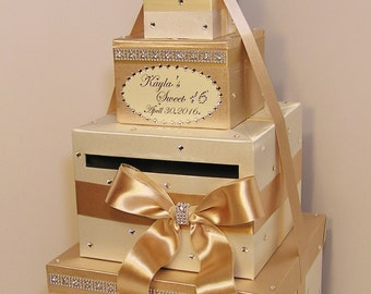 Quinceañera / Sweet 16 / Birthday /Wedding Card Box Champagne and Ivory Gift Card Box Money Box  Holder--Customize in your color-Custom Made