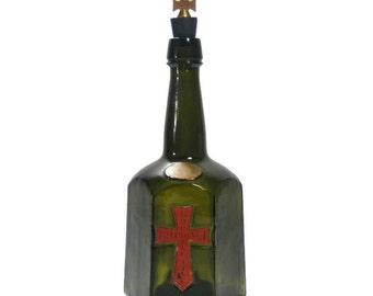 Vintage Liquor Bottle Red Gothic Cross Bardinet Bardinetine
