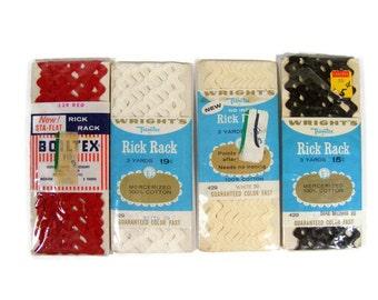 Rick Rack Red, White, Brown Vintage Trim 4 packages
