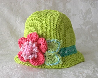 Baby Hat Knitting Hand Knitted Baby Hat Knitted Brimmed Hat Cotton Knitted Hat Children Clothing Newborn Hat with Flower