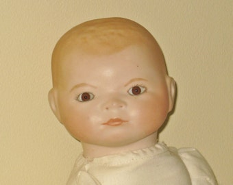 Grace S Putnam Bisque Head Baby Doll, 1920s Made in Germany Vintage Porcelain Collectible,