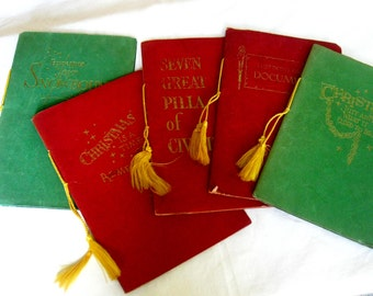Collecton of Five 5 Red and Green Velvet like Booklets with Gold Lettering Gold Tassels, Three Christmas Two Historical Greeting Pamphlets