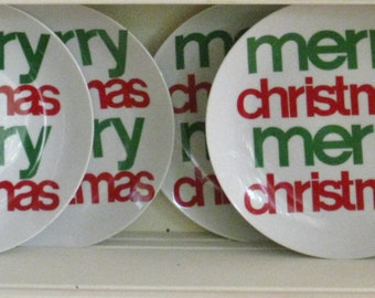 Collection of 6 Six MERRY CHRISTMAS plates, Vintage Schmid Design Folio Porcelain Holiday Plates,