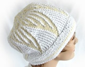 Woman's White and Yellow Winter Hat Women's Knit Hat Girl's Winter Hat Women's Winter Hat Yellow and White Knit Winter Hat Triangle Knit Hat