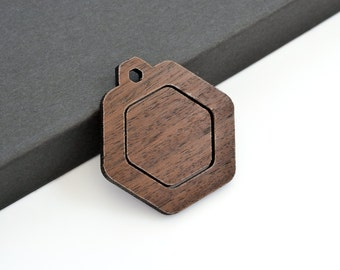 "1"" Embroidery Hoop Hexagon Pendants Honeycomb 25mm Laser Cut from Walnut Wood EHPHC-25-W"
