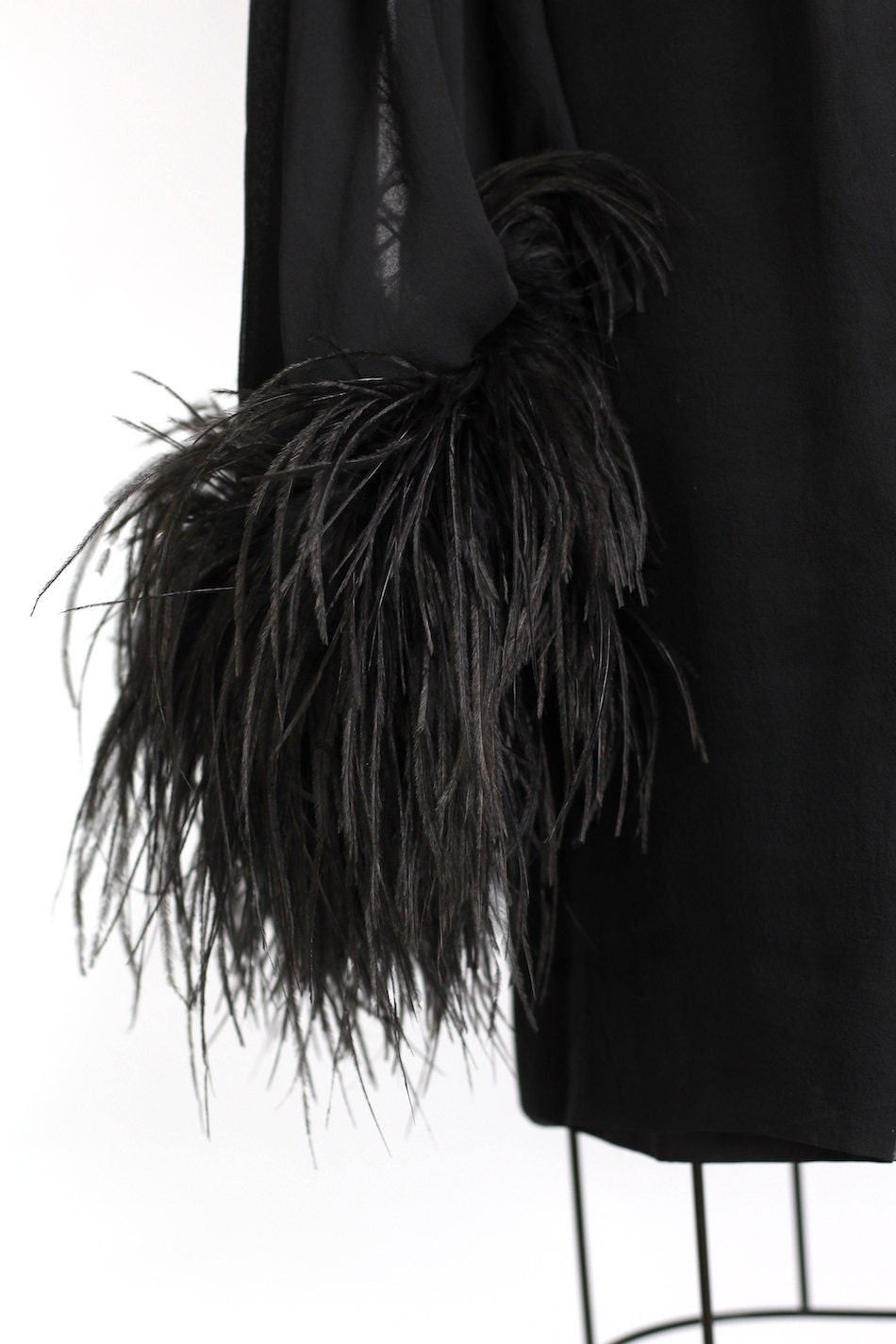 Vintage Osterich Feather Lined Black Cocktail Dress
