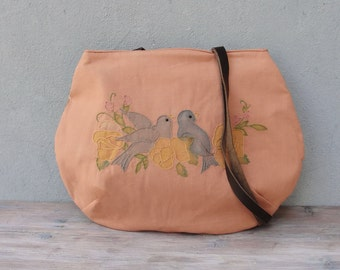 Lovebirds Bag Vintage Embroidery, Patchwork and Leather Bag.