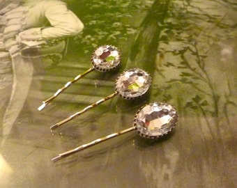 Clear Glass Jewel Hair Pin Set - Antique Silver Filigree - by Joolienn on Etsy