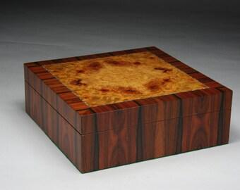 Areskeia   (Pleasing) Brazilian Rosewood Amboyna Burl Jewelry Box