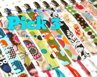 Pacifier Clips, Choose 3, Over 85 choices - Soothie Clips,  Mam, Nuk, Avent, Tommee Tippee