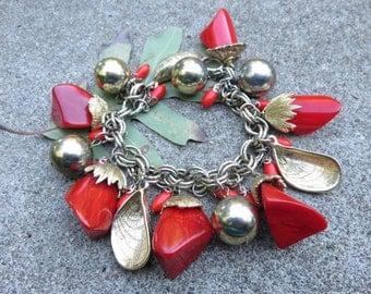 "Chunky Red Bakelite Charm Bracelet,  Vintage 1960s charm bracelet  8"""